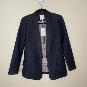 JOIE Quade Blazer Black Tuxedo Satin Shawl